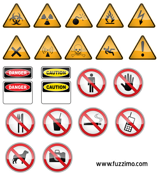 vector Hazard and Warning Signs pack ai, eps zip file 4.6mb