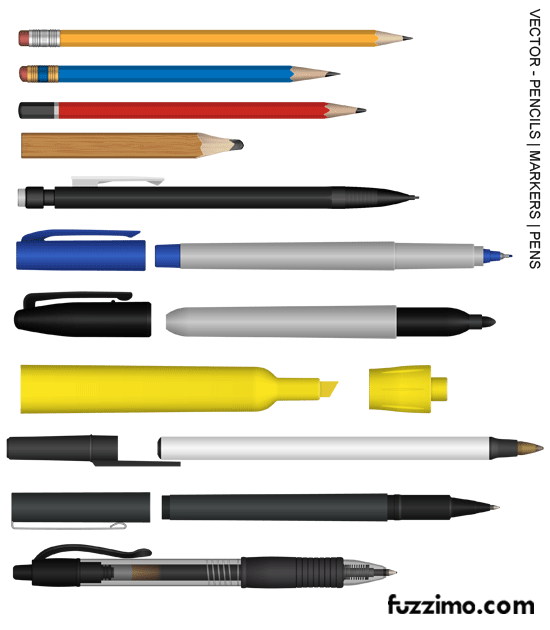 fzm-Vector-Pencils-Markers-Pens-Highlighter