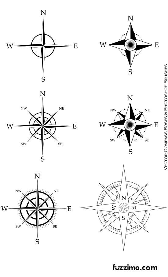 free vector compass roses ps brushes fuzzimo